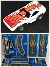 VTG AFX slotless Flaming 'Cuda Car & 1977-78 Ideal TCR Race Track Lot New In Box