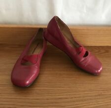 HUSH PUPPIES Red Leather Loafer Ballet Flat Heels Rain Skimmers Sz 6.5c 37.5 4.5