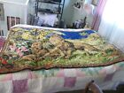 """VINTAGE AFRICAN LION FAMILY WALL TAPESTRY 48"""" X 72"""" VG USED COND,  NICE COLORS"""