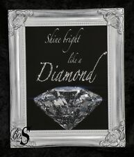 Glitter / Diamond dust Canvas Picture Silver Shabby Chic frame, Wall Art.