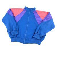 Vintage 80s 90s Womens Large Sweatshirt Track Jacket Full Zip Color Block