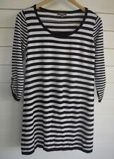 Katies Women's Black & White Stripe Knit Jumper-Tunic - Size S