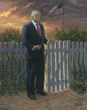 Jon McNaughton MAKE AMERICA SAFE 24x20 S/N Canvas President Donald Trump Fence