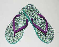 CREWCUTS Flip Flops Girls Green Purple Floral Flip Flops Girls Flower Sandal 1/2
