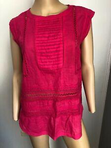 BOOM SHANKAR cap sleeve pink 100% cotton lace top 14 EUC
