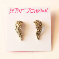 New Betsey Johnson Crystal Wings Stud Earrings Gift Fashion Women Party Jewelry
