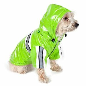 PetLife Central Reflecta-Glow Reflective Waterproof Adjustable Pvc Pet Raincoat