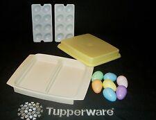 Tupperware ALMOND Deviled Egg Taker Keeper Tray ~carrot celery pickle lunch meat