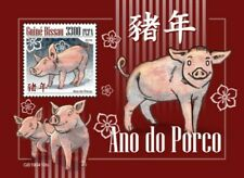 Guinea-Bissau - 2019 Chinese Zodiac Year of Pig - Stamp Souvenir Sheet GB190410b