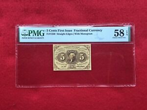 FR-1230 First Issue 5c Cent Fractional/Postage Currency *PMG 58 EPQ Choice AU*