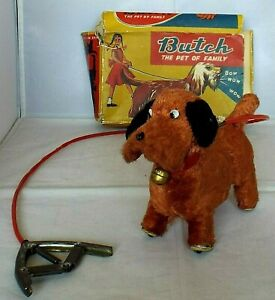 """Vintage Hand Operated Mechanical TOY DOG """"Butch Family Pet"""" Walks & Barks & Box"""
