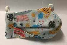 3 LAYERS SPACE ROCKET PLANET washable cotton face mask cloth TRIPLE fabric UFO