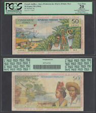 French Antilles 50 Francs ND 1964 (VF) PCGS 20 Guadeloupe Guyane P-9a