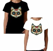 Velocitee Ladies Tattoo Cat T-Shirt Kitty Pussy Day Of The Dead Feline W17020