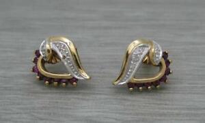 Beautiful 9ct Yellow Gold Natural Ruby & Diamond Heart Stud Earrings