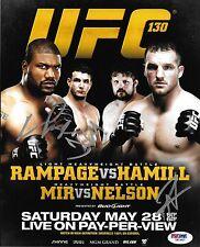 Frank Mir & Quinton Rampage Jackson Roy Nelson Signed UFC 130 8x10 Photo PSA/DNA