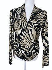 Joseph Ribkoff women's size 10 top animal print V-neck black brown 93156X