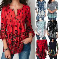 Women V-Neck Print Tunic Tops Plus Size Casual Loose Top Blouse Shirt T-Shirt A