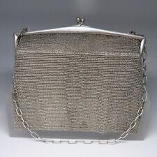 Tasche mit Kette in 800er Silber - Krone Halbmond punziert 331,3 Gramm