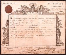 Document militaire: Congé de Réforme daté 1795 avec cachet de cire.