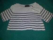 Minkpink  Boho Gypsy Hippie Blouse Shirt Print Crop Top b&w stripe Small S Tee