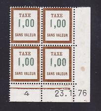 FRANCE TIMBRE FICTIF TAXE FT28 ** MNH, coin daté 23.1.76, TB