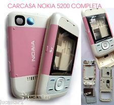 Carcasa para Nokia 5200 COMPLETA Blanca y Rosa + FUNDA