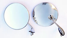 Pair Classic Car Chrome Door / Wing Mirrors with Convex Mirror Glass Mini MG etc