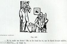 MAL DI DENTI. Vignetta Umoristica. Odontoiatria. Dentista.Dentist.Zahnarzt. 1929