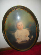1800's Stylish Ornate Oval Frame/Convex Glass w/Hand Tinted Little Boy In Chair