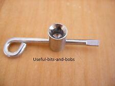 Long central heating radiator T-bar rear side air vent bleed key spanner brass