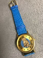 Vintage Pierre Cat Ladies Watch Mouse Moving Dial Kitten Leather Band 32mm
