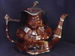 Vintage Price Kensington double faced man brown + silver Toby teapot model 3431