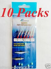 10 Packs Size #4 Sabiki Bait Rigs 6 RED Hooks Offshore Saltwater Lures - 496