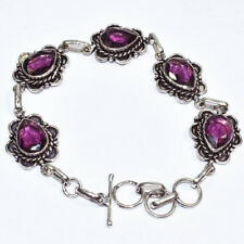 """Amethyst Gemstone 925 Silver Jewelry Bracelet 7-8"""""""