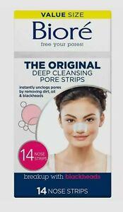 Biore Original, Deep Cleansing Pore Strips 14 Nose Strips for Blackhead Removal