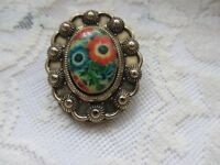 Vintage Ladies Enamel Floral Scarf/Dress Clip