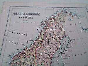 Antique Map 1890 SWEDEN+NORWAY+DENMARK - From Philips Atlas For Beginners  §13