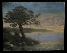 Huile sur Toile monogrammée RMG (?] datée 1910 : Paysage lacustre crépusculaire.