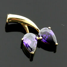 9CT Yellow Gold Pear Amethyst C/Z  Pendant - UK MADE