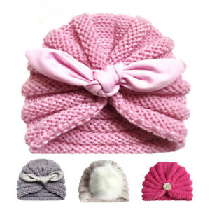 Knitted Winter Baby Hat for Girls Candy Color Bonnet Infant Beanie Turban Hat