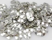 200 Metallperlen Scheiben getwistet 9mm rund silber Metall Spacer Bastelperlen