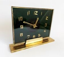Antique 1930s Art Deco Green Glass & Brass Desk Mantel Clock translucent Decor