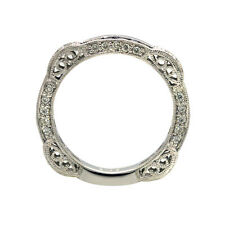 14K WHITE GOLD PAVE FILIGREE DIAMOND SAPPHIRE ETERNITY WEDDING BAND RING 5 6 7 9