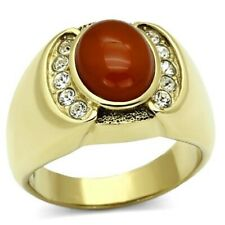 New Gold IP Stainless Steel Men's Red Agate Oval Cabochon CZ Ring - Sizes 8-13