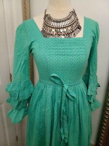 Laura Ashley green frilly maxi dress - Ditsy Vintage Victoriana 6 XS