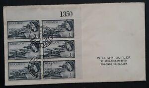 1962 Barbados Cover ties 6 Stamps cd GPO Barbados to Toronto, Canada
