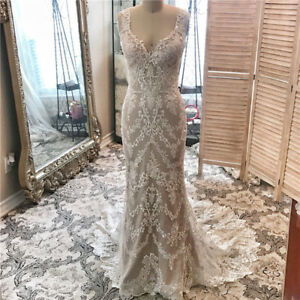 Backless Mermaid Wedding Dresses Bridal Gown V Neck Lace Applique Long Train