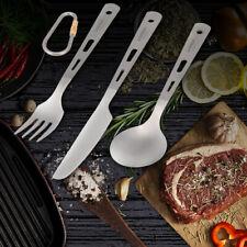 Lixada 3 Piece Cutlery Set Titanium Outdoor Camping Picnic Cutlery Spoon C2A7