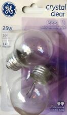 2 GE 25-Watt G16 1/2 Crystal Clear Globe Lights wStandard Medium Base 160 Lumens